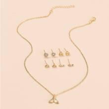 1 Stueck Halskette mit Meerjungfrauschwanz Anhaenger & 4 Paare Ohrstecker