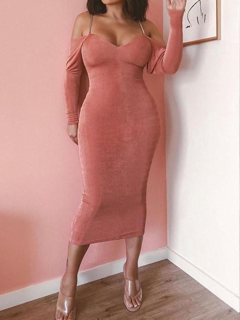 Ericdress Long Sleeve Mid-Calf Plain Party/Cocktail Dress