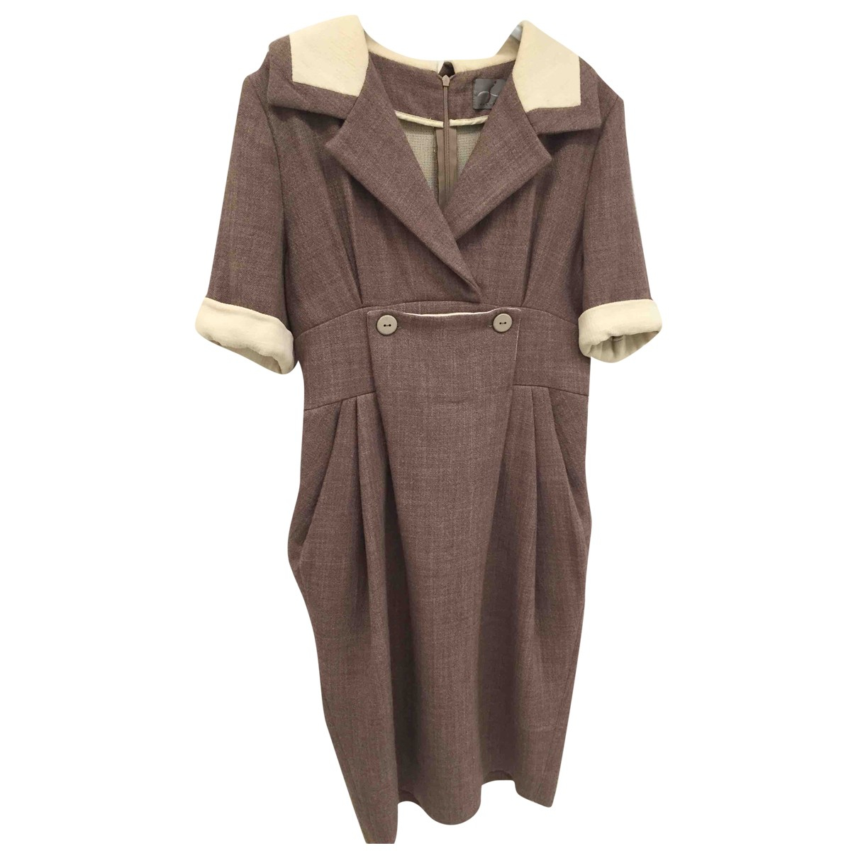 Non Signe / Unsigned \N Kleid in  Beige Wolle