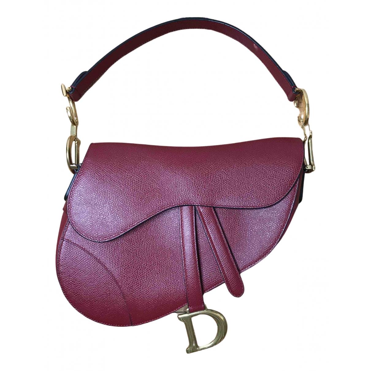 Dior Saddle Handtasche in  Bordeauxrot Leder