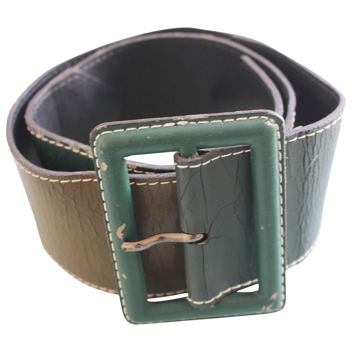 Yves Saint Laurent \N Green Leather belt for Women 70 cm