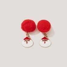 Christmas Santa Claus Pom-pom Earrings