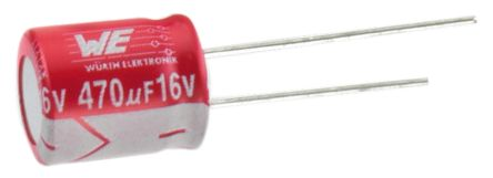 Wurth Elektronik 10μF Polymer Capacitor 63V dc, Through Hole - 870055874001