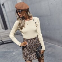 Button Front Rib-Knit Fitted Sweater