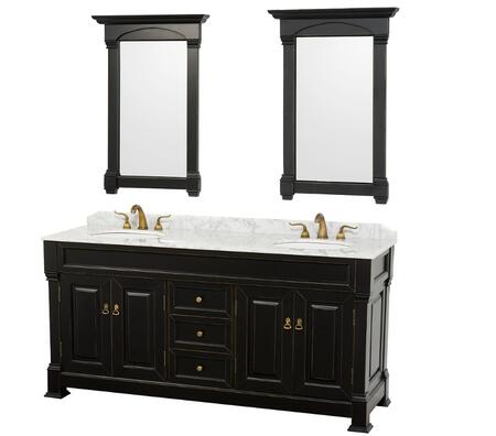 WCVTD72BLCW 72 in. Double Bathroom Vanity in Antique Black White Carrera Marble Top with White Undermount Sinks and 28 in.