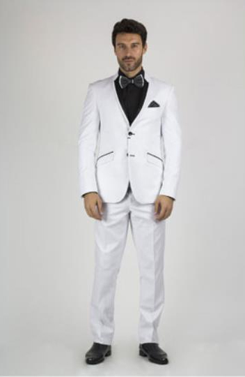 White and Black Lapel Slim Fitted Suit Tuxedo Looking
