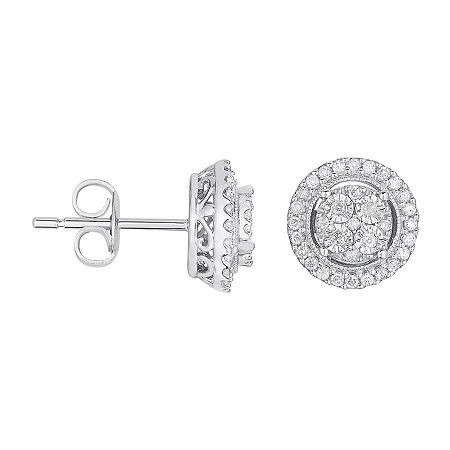 TruMiracle 1/4 CT. T.W. Genuine Diamond Round Sterling Silver Earrings, One Size , No Color Family