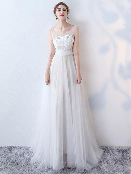 Milanoo Simple Wedding Dress 2020 A Line Jewel Neck Sleeveless Bows Lace Tulle Bridal Dresses