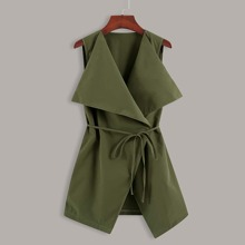 Solid Waterfall Collar Belted Vest