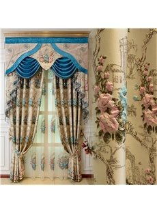 Luxury and Noble Light Yellow Embossed Flower 2 Panels Curtain for Living Room
