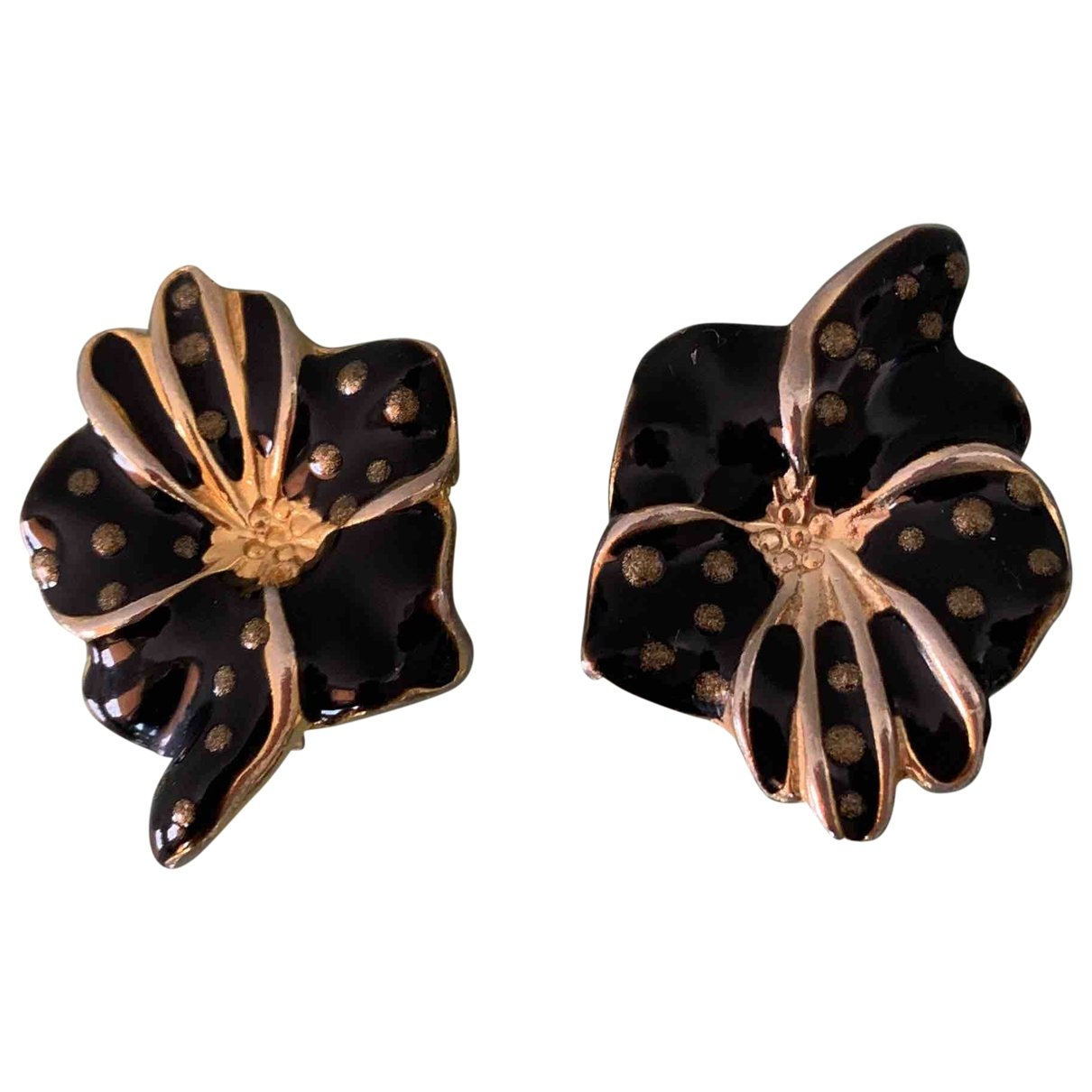 Non Signé / Unsigned Motifs Floraux Black Metal Earrings for Women \N