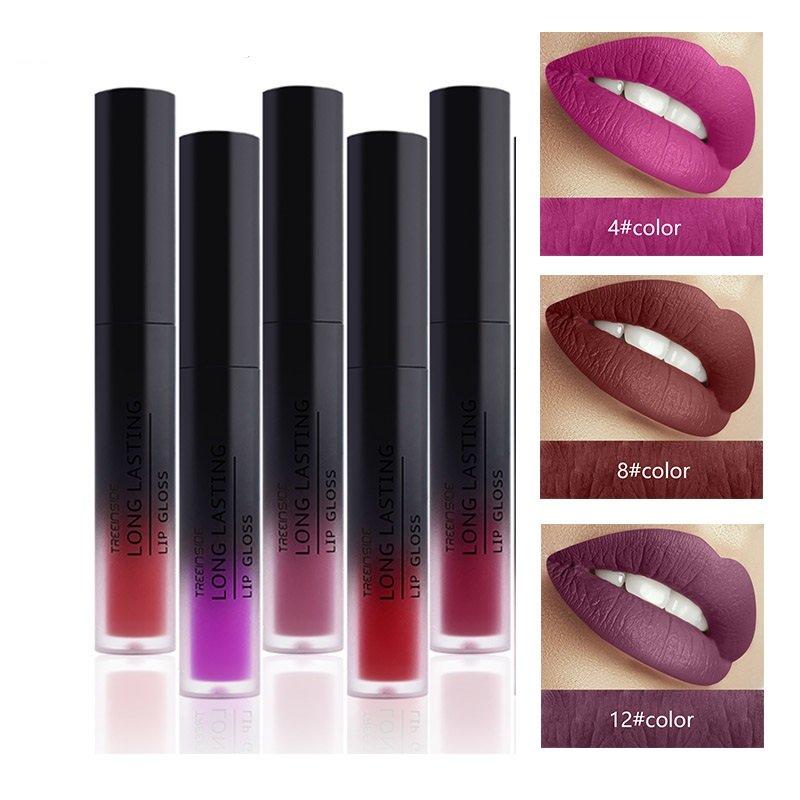 TREEINSIDE Velvet Matte Liquid Lipstick Lip Gloss Color Makeup Long Lasting Pigment Sexy Red Lips