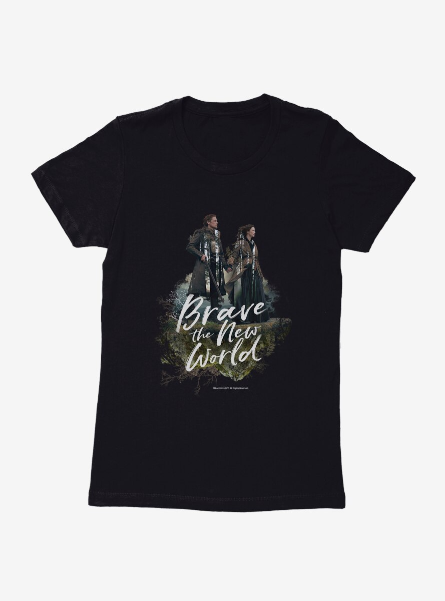 Outlander Jamie Claire Brave New World Poster Womens T-Shirt