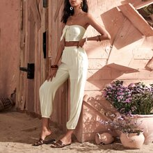 Tie Front Tube Top With Pants
