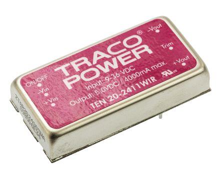 TRACOPOWER TEN 20WIR 20W Isolated DC-DC Converter Through Hole, Voltage in 9 → 36 V dc, Voltage out 5V dc