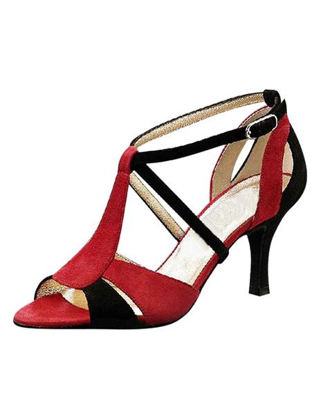 Milanoo Ballroom Dance Shoes Women's Contrast Color Open Toe High Heel Sandals