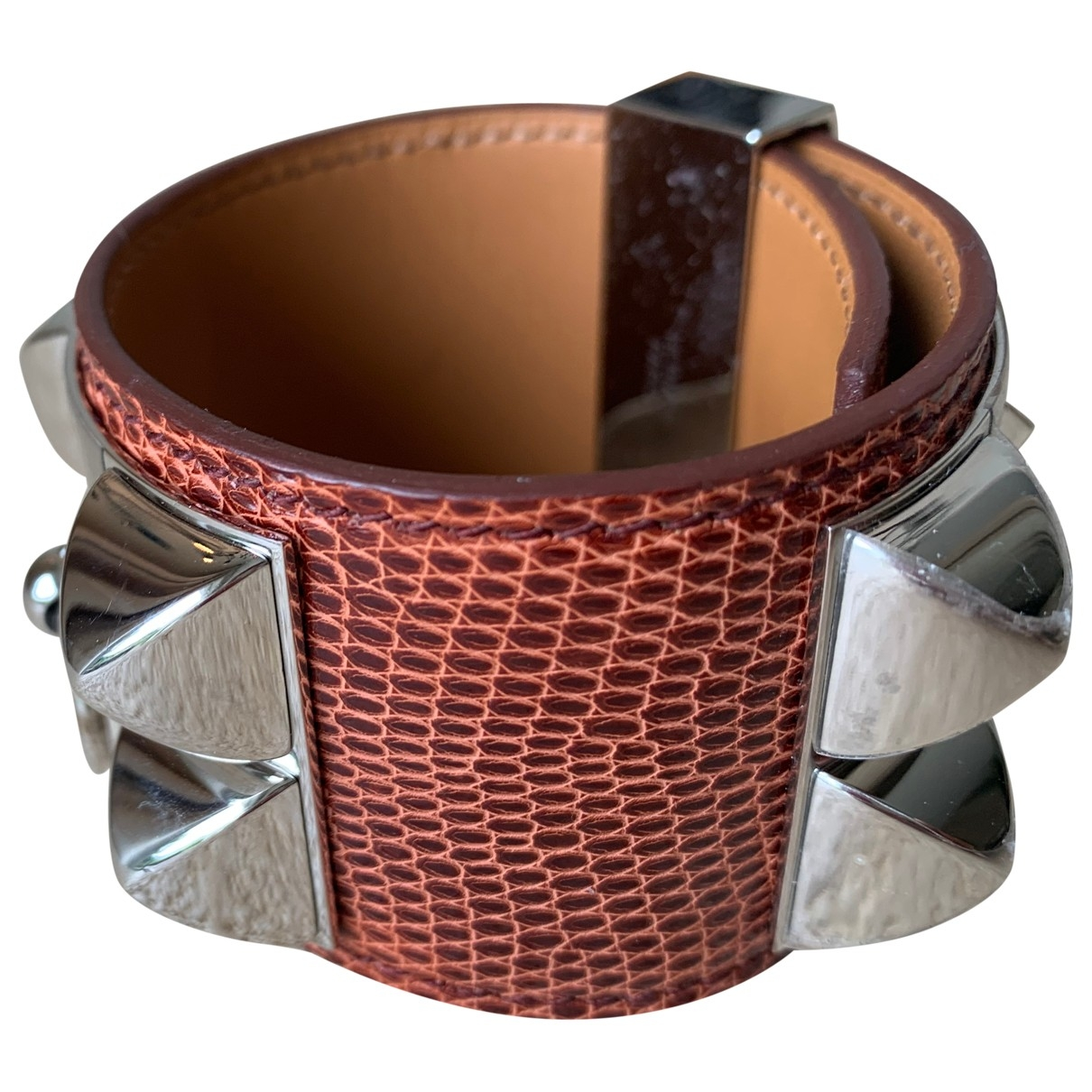 Hermès Collier de chien  Brown Lizard bracelet for Women \N