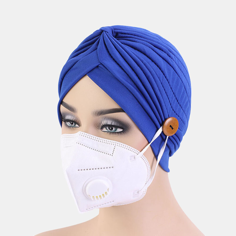 Solid Color Beanie Cancer Cap National Style Button Mountable Ears Prevent Strangulation
