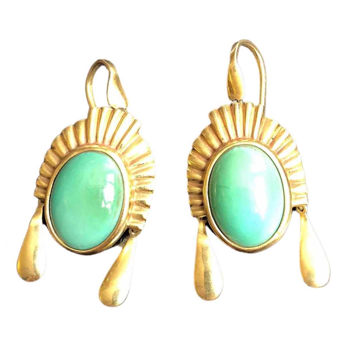 - Boucles doreilles   pour femme en or jaune - turquoise