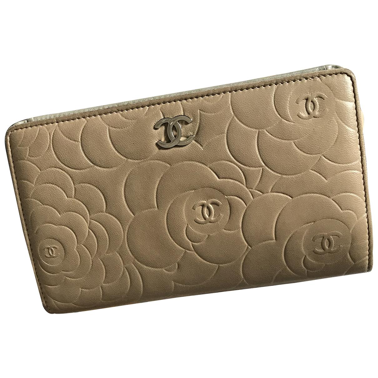 Chanel - Portefeuille   pour femme en cuir - beige