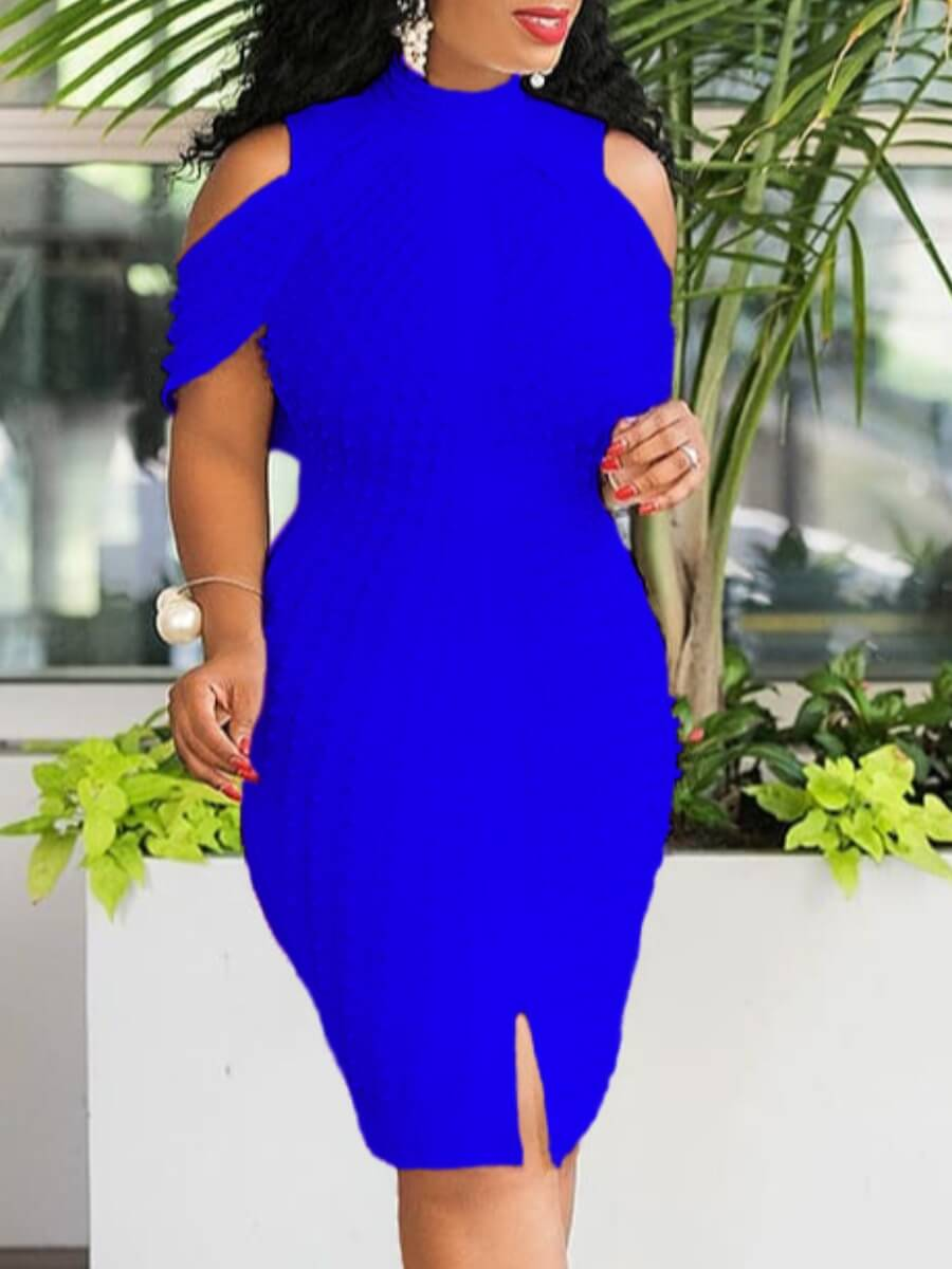 LW Lovely Sexy Off The Shoulder Blue Knee Length Dress