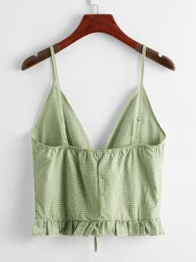 Lace Up Ruffle Hem Gingham Cami Top