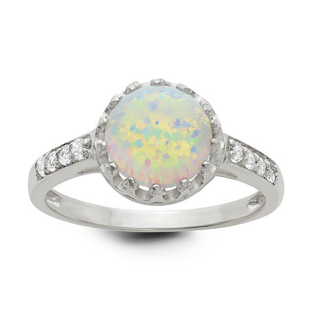 Simulated Opal Sterling Silver Ring, 10 , No Color Family