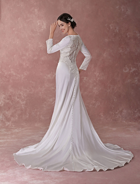 Milanoo Court Train Ivory Bridal Wedding Dress with V-Neck A-line Beading