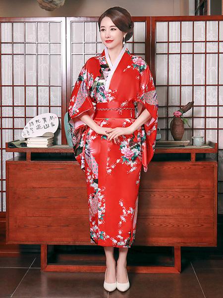 Milanoo Disfraz Halloween Disfraces japoneses para adultos Kimono azul cian Vestido de saten de poliester Conjunto oriental Disfraces de vacaciones Ca