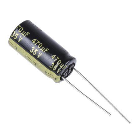 Panasonic 470μF Electrolytic Capacitor 35V dc, Through Hole - EEUFM1V471 (200)
