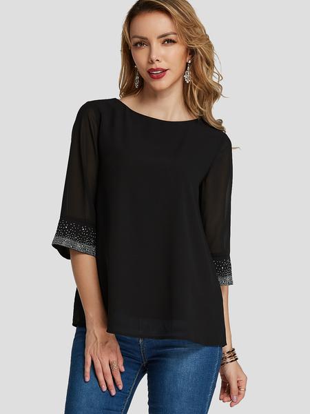 YOINS Black Sequins Embellished Sheer Round Neck Tee
