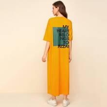Drop Shoulder Slogan Graphic Tee Dress