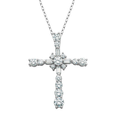 DiamonArt Cubic Zirconia Sterling Silver Cross Pendant Necklace, One Size , No Color Family
