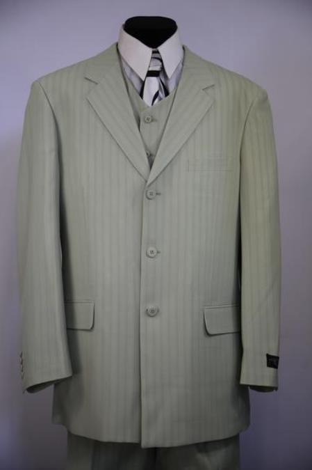 Mens Notch Lapel Flap Pocket Striped 3pc Zoot Suit Sage