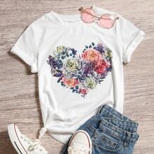 Camiseta con estampado floral con corazon