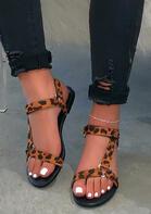 Summer Leopard Buckle Strap Flat Sandals without Anklet