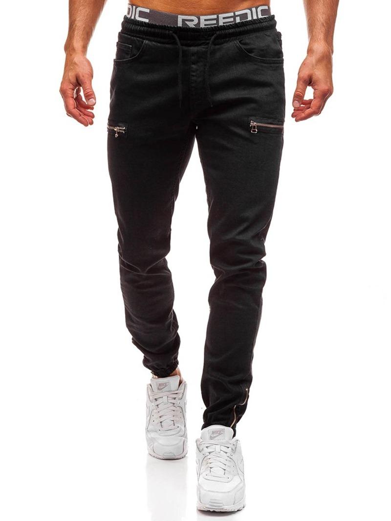 Ericdress Color Block Pocket Casual Men's Lace-Up Jeans