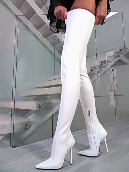 Milanoo White Sexy Boots Women Pointed Toe Stiletto Heel Thigh High Boots High Heel Over The Knee Boots