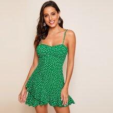 Cami Kleid mit Raffung und Punkten