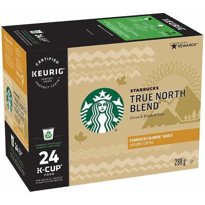 Starbucks True North K-Cup Blend Light Roast Coffee, 24/Pack