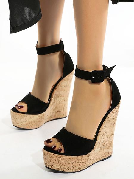 Milanoo Tacones de mujer Zapatos negros Sandalias de cuña Poliuretano Punta abierta Piel de gamuza Ropa de calle