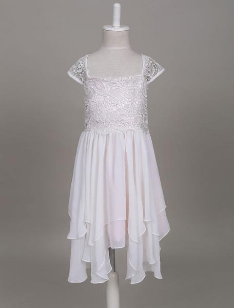 Milanoo Vestidos estilo Bohemia de niña de las flores Boho Lace Chiffon con gradas corto vestido de fiesta de una linea de desgaste de los niños