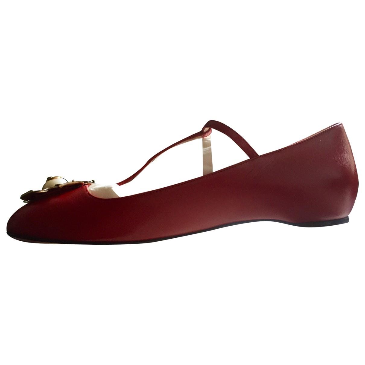 Gucci - Ballerines   pour femme en cuir - rouge