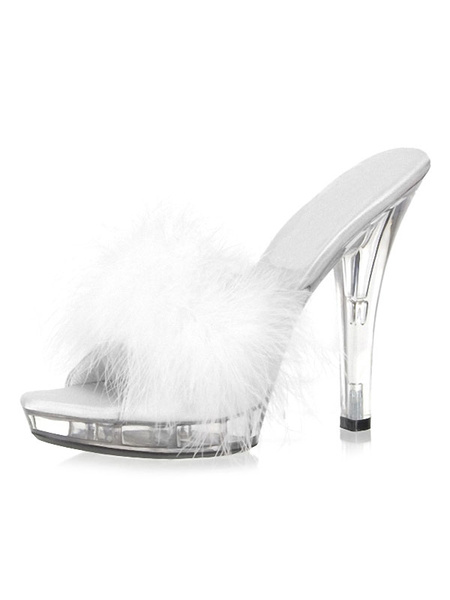 Milanoo Pink Sandal Slippers Women Sexy Shoes Open Toe Feathers Detail Backless High Heel Sandals