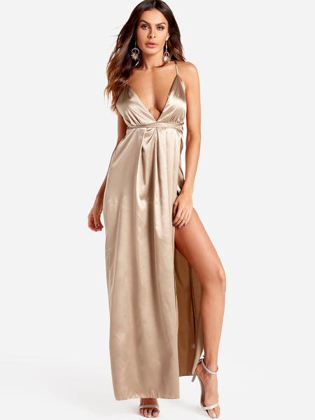 Yoins Light Brown Open Back Sleeveless Slit Hem Maxi Dress