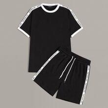 Conjunto de hombres top ringer con cinta lateral con letra con shorts