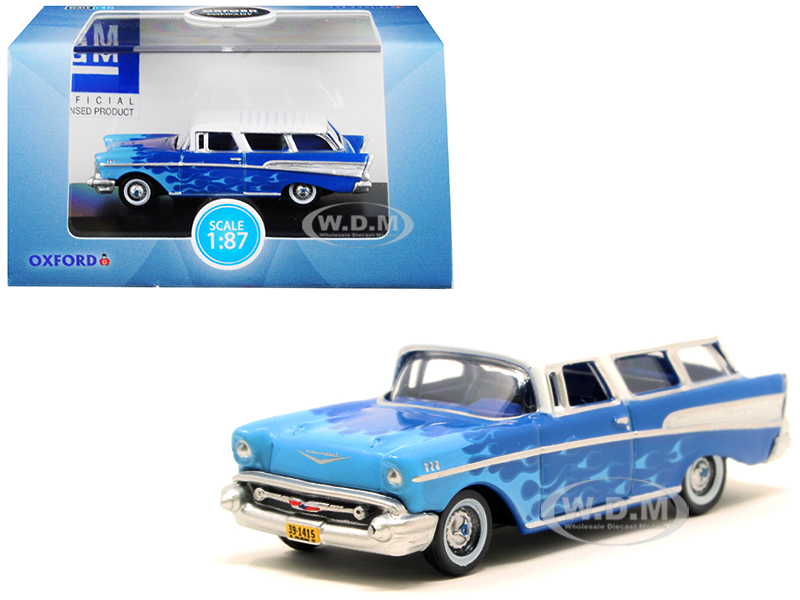 1957 Chevrolet Nomad Blue with Light Blue Flames and White Top