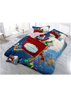 Santa Claus on Sleigh Wear-resistant Breathable High Quality 60s Cotton 4-Piece 3D Bedding Sets