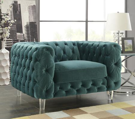 Morgan Collection FCC2652-AC Club Chair with Shelter Arms  Acrylic Tapered Legs  Diamond Tufting  Contemporary Style  Plush Multi Density Foam Fill