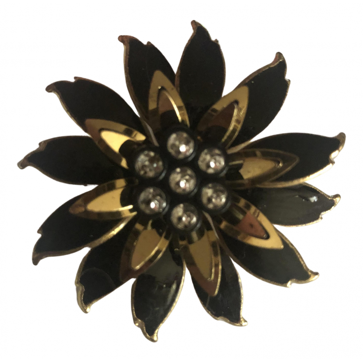 Non Signe / Unsigned Motifs Floraux Brosche in  Schwarz Metall